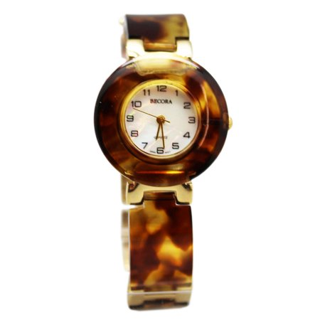 Becora Quartz Gold Tone and Faux Amber Plates Linked Band Fashion Watch ()