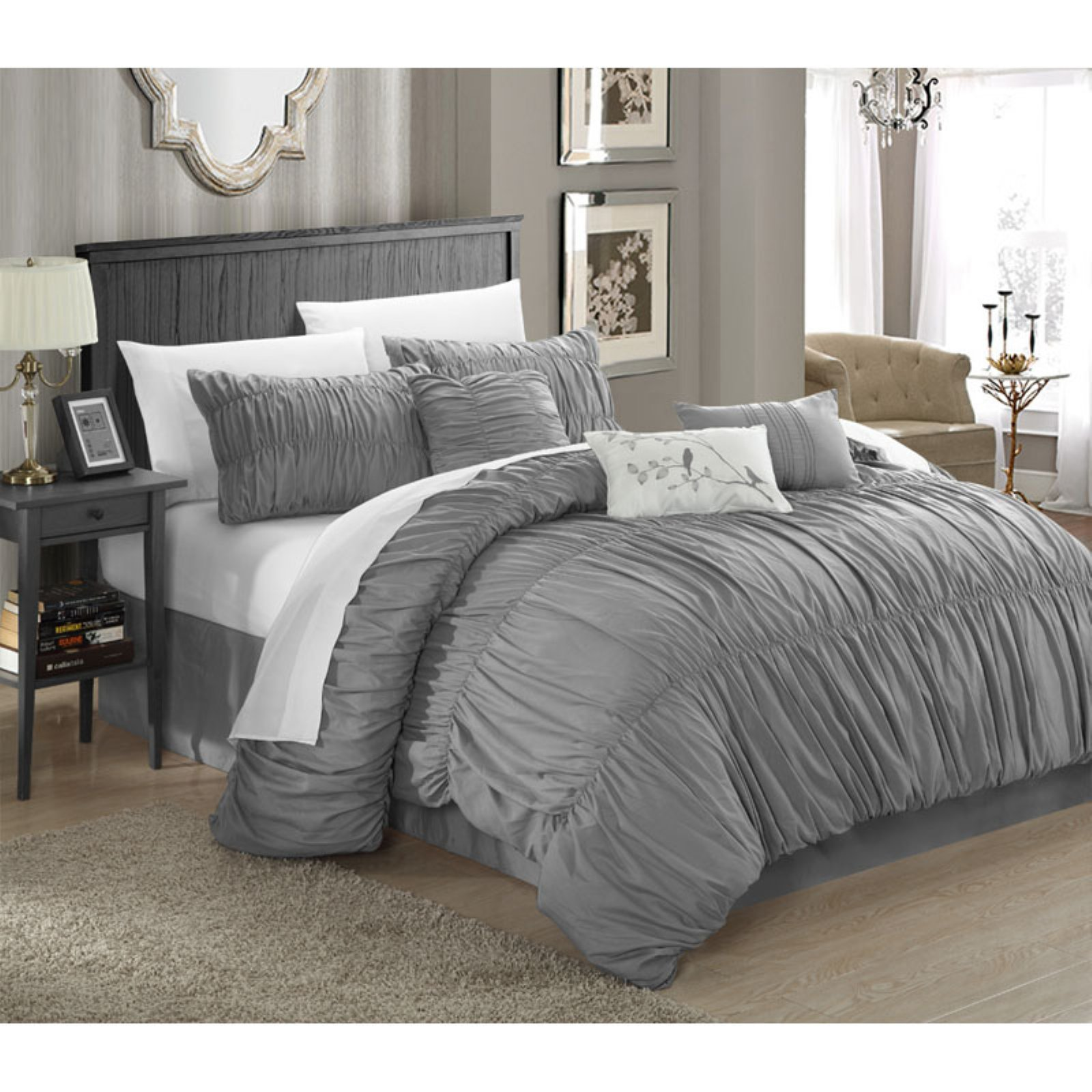Chic Home Frances 7-Piece Comforter Set Pleated and Ruffled