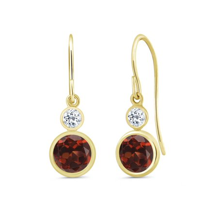 2.28 Ct Round Red Garnet White Topaz 14K Yellow Gold Earrings