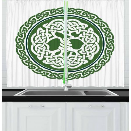 Celtic Curtains 2 Panels Set, Illustration of Celtic Tree of Life on a Green Circle with Frieze, Window Drapes for Living Room Bedroom, 55W X 39L Inches, White Dark Teal Fern Green, by Ambesonne ()