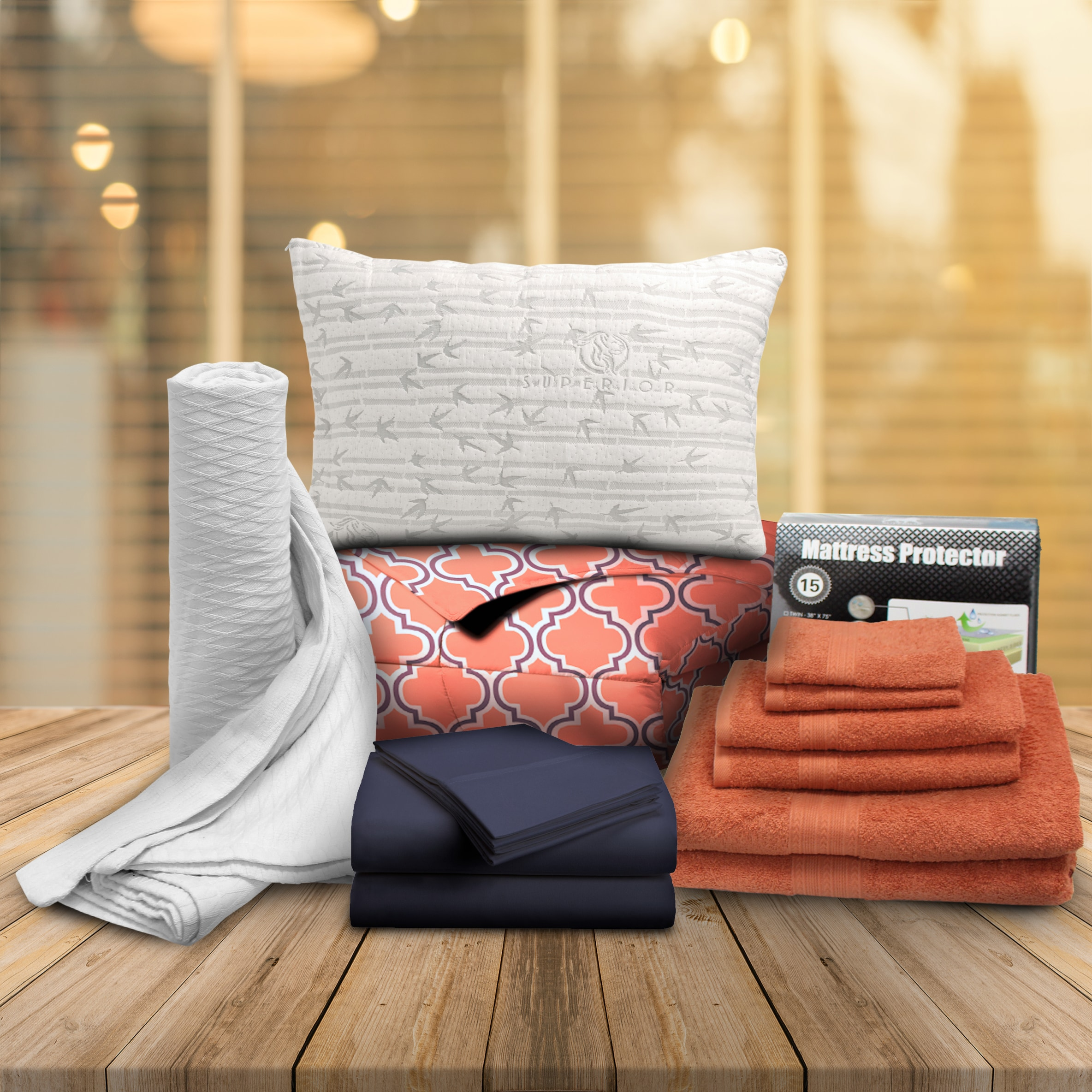Superior  Coral Trellis Twin XL 14-Piece Dorm Bedding and Bath Set