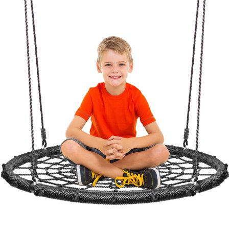 Round Platform Swing & Spin Set Extra Large Includes Tree Swing Hanging Kit Black