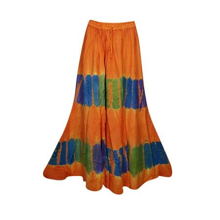 Gypsy Maxi - Mogul Womens Orange Tie Dye A-Line Gypsy Long Skirt Rayon Summer Style Hippie Chic Boho Maxi Skirts
