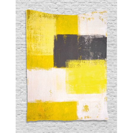 Grey and Yellow Tapestry, Abstract Grunge Style Brushstrokes ...