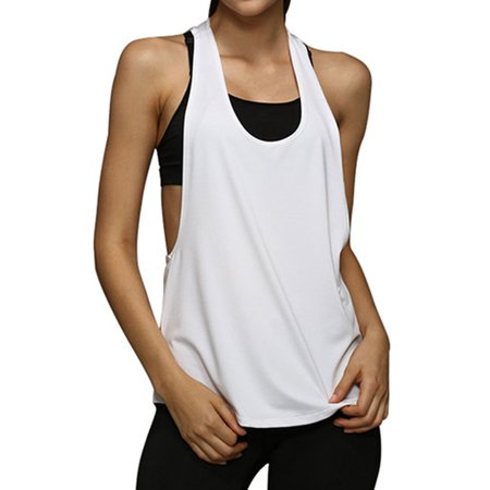 711ONLINESTORE Women Scoop Neck Workout Loose Fit Tank - Pink Tank Top