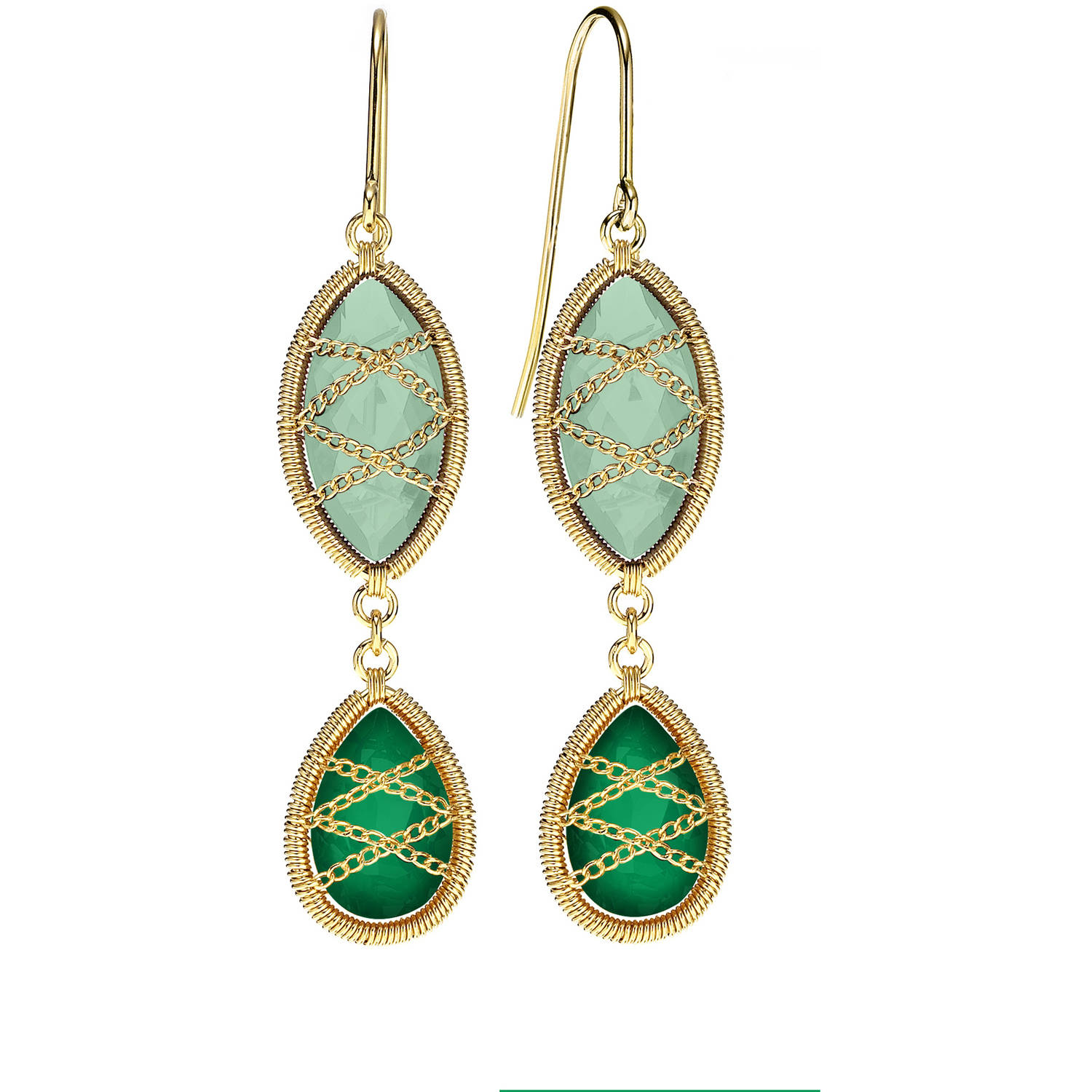 Image of 5th & Main 18kt Gold over Sterling Silver Hand-Wrapped Double Drop Chalcedony and Peridot Stone Earrings