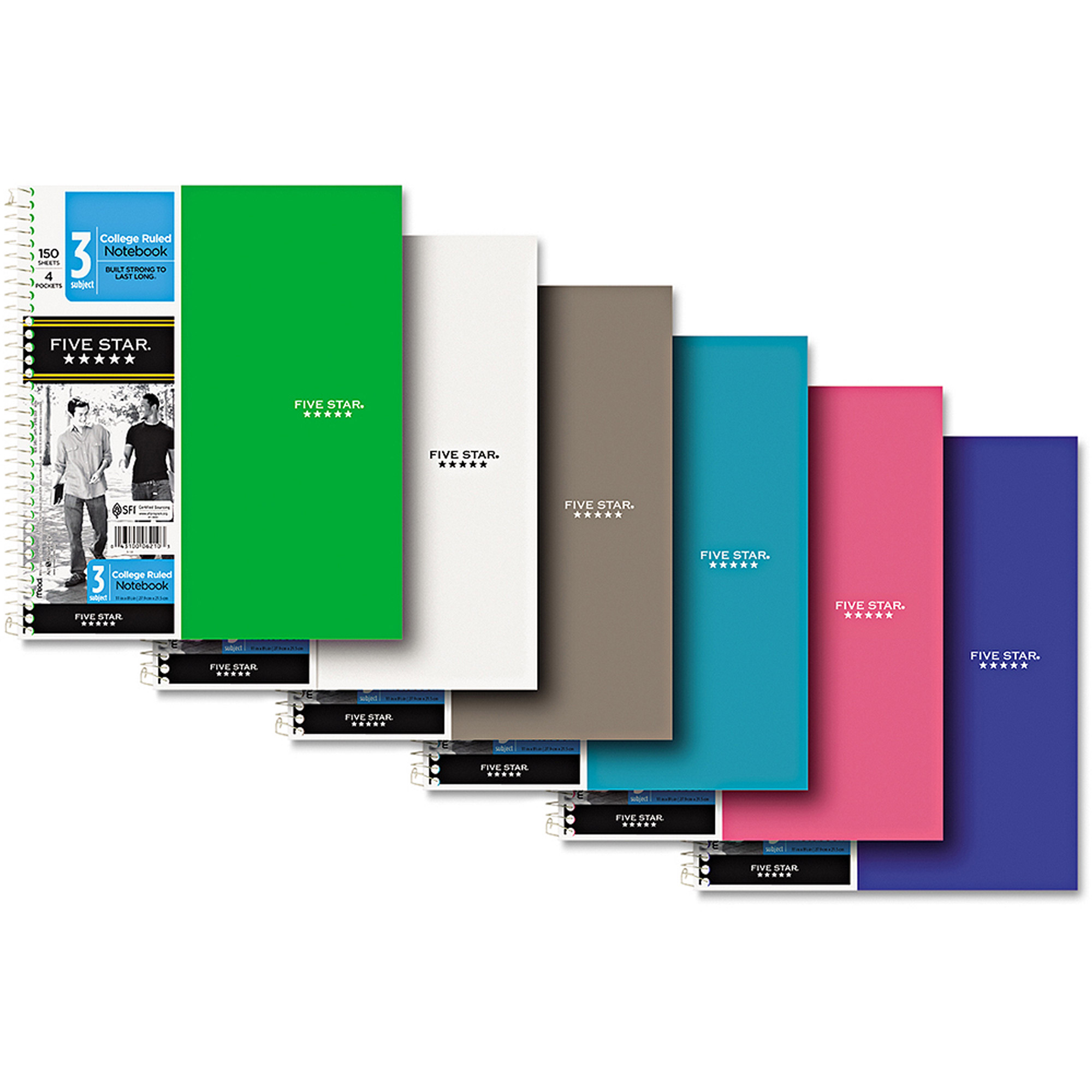 """Five Star Trend Wirebound Notebook, College ,WE, 8-1/2"""" x 11"""", 3 Subject, 150 Sheets"""