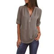 Women Plus Size Long Sleeve V-Neck Chiffon Blouse Zipper Loose Shirts Tops