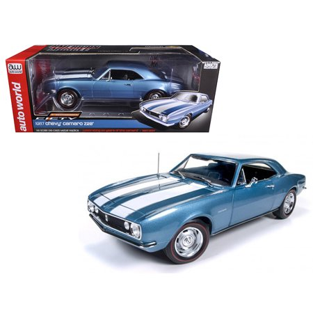 1967 Chevrolet Camaro Z/28 50th Anniversary Nantucket Blue Limited Edition to 1002pcs 1/18 Diecast Model Car by Autoworld - image 3 de 3
