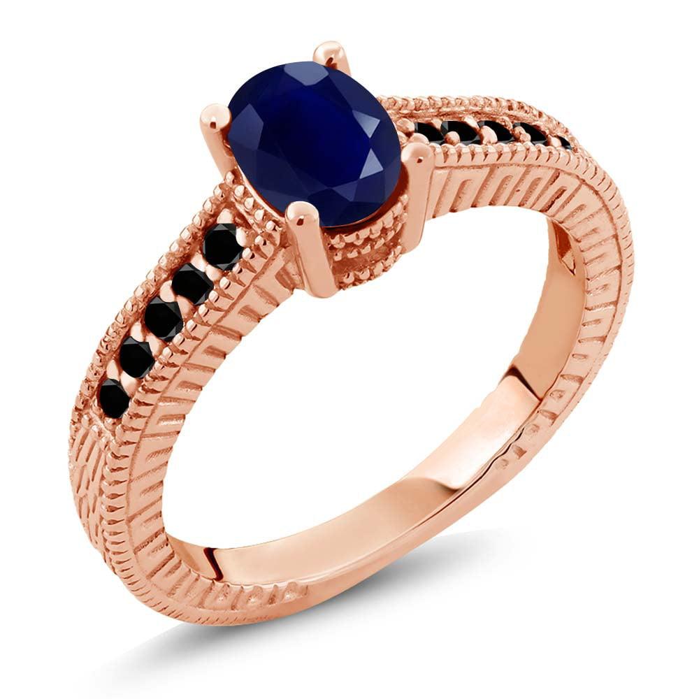 1.35 Ct Oval Blue Sapphire Black Diamond 18K Rose Gold Engagement Ring