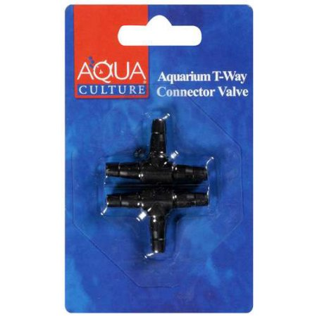 (2 Pack) Aqua Culture T-Way Connector Aquarium Valve, 2ct