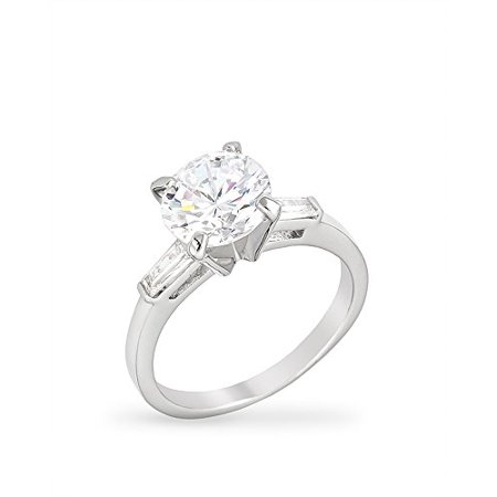 Rhodium Plated Engagement Ring with a Triplet & Shouldered Baguettes and Centered Round Cut CZ Size