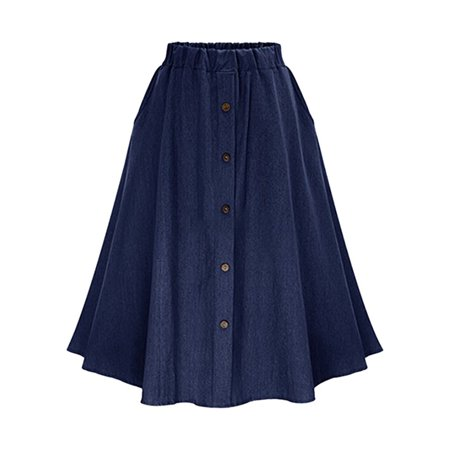 OUMY Women A-Line High Waist Denim Button Midi Skirt