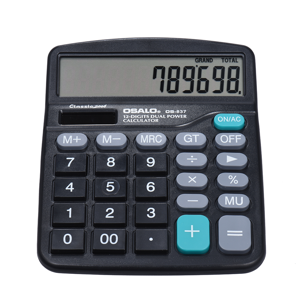 Electronic Calculator Counter Solar & Battery Power 12 Digits Multi-functional Big Button Business Office School Scientific Calculate