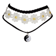 Lux Accessories Peace Sign Sunflower Flower Floral Fabric Choker Necklace Set (3 PC)