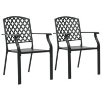 Outdoor Stacking Dining Chairs 2 pcs Steel Black Mesh