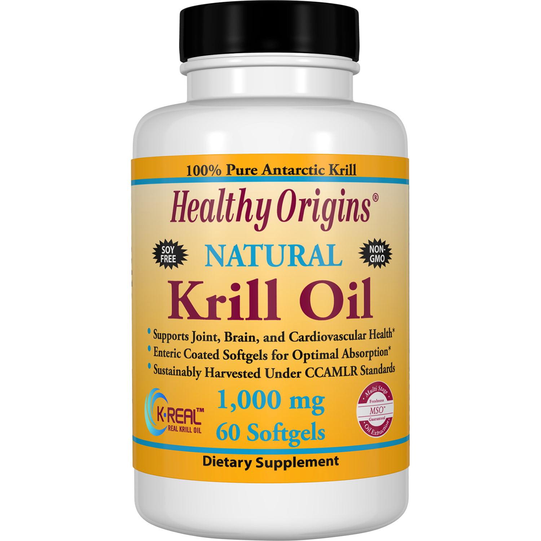 Healthy Origins Natural Krill Oil Softgels, 1000 Mg, 60 Ct