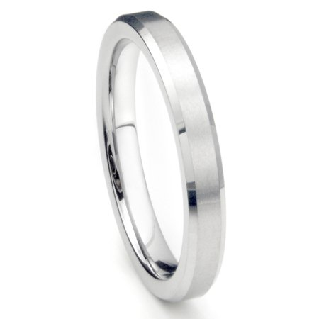 4MM Sterling Silver Brush Finish Beveled Tarnish Resistant Comfort Fit Wedding Band Ring Sz 7.5 4 Mm Brushed Band