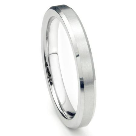 Finished Comfort Fit Wedding Band (4MM Sterling Silver Brush Finish Beveled Tarnish Resistant Comfort Fit Wedding Band Ring Sz 7.5)