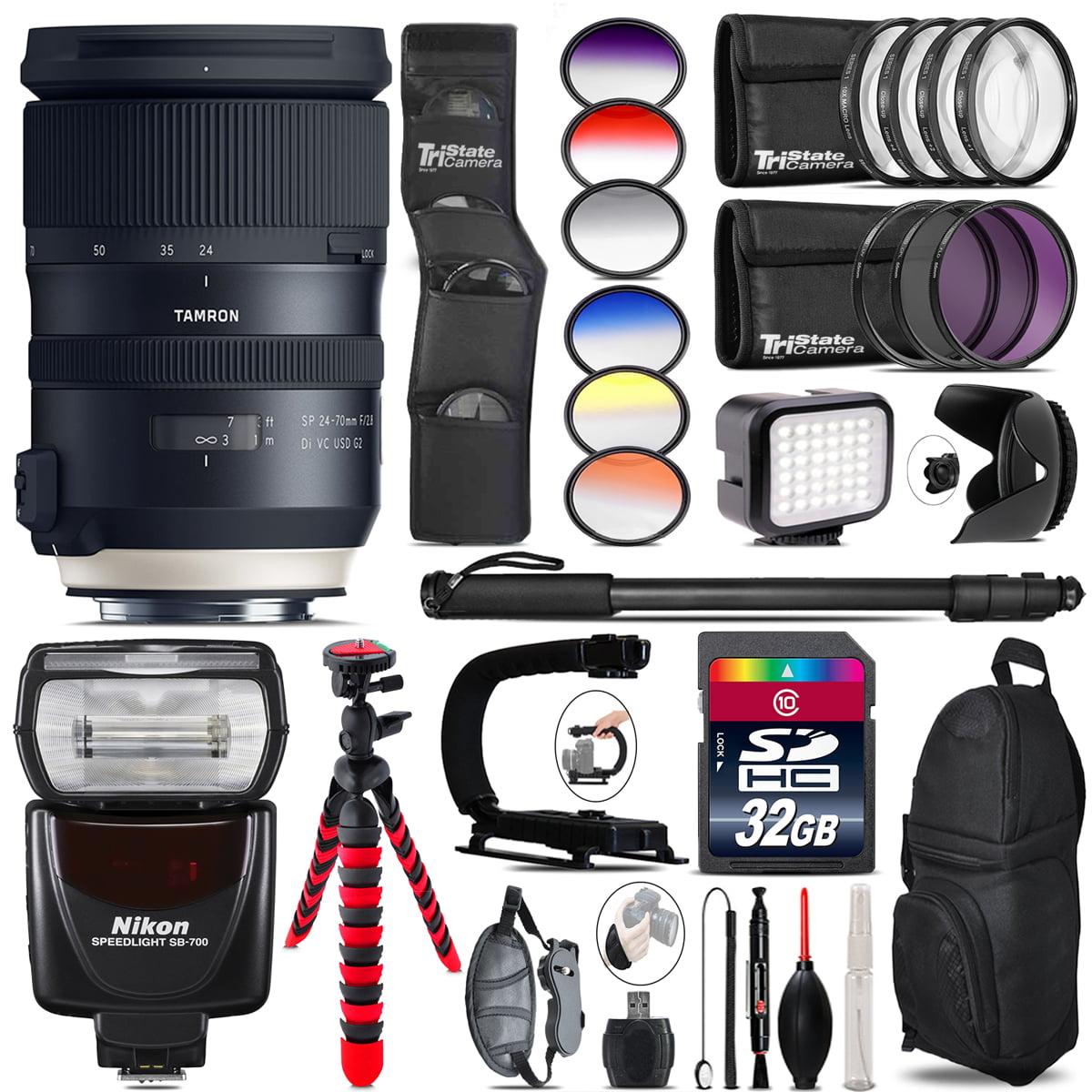 Tamron 24-70mm VC G2 for Nikon + SB-700 AF Speedlight + LED 32GB Accessory Kit by TriStateCamera