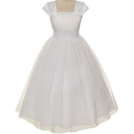Flower Girl Cap Sleeved Beaded White Dress First Holy Communion Size 2-16 (4, White) for $<!---->