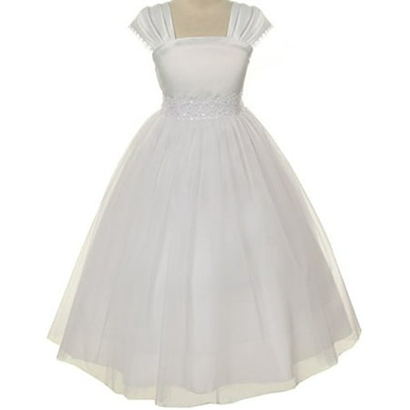 Flower Girl Cap Sleeved Beaded White Dress First Holy Communion Size 2-16 (4, - Cotton First Communion Dress