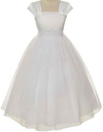 Flower Girl Cap Sleeved Beaded White Dress First Holy Communion Size 2-16 (4, White)
