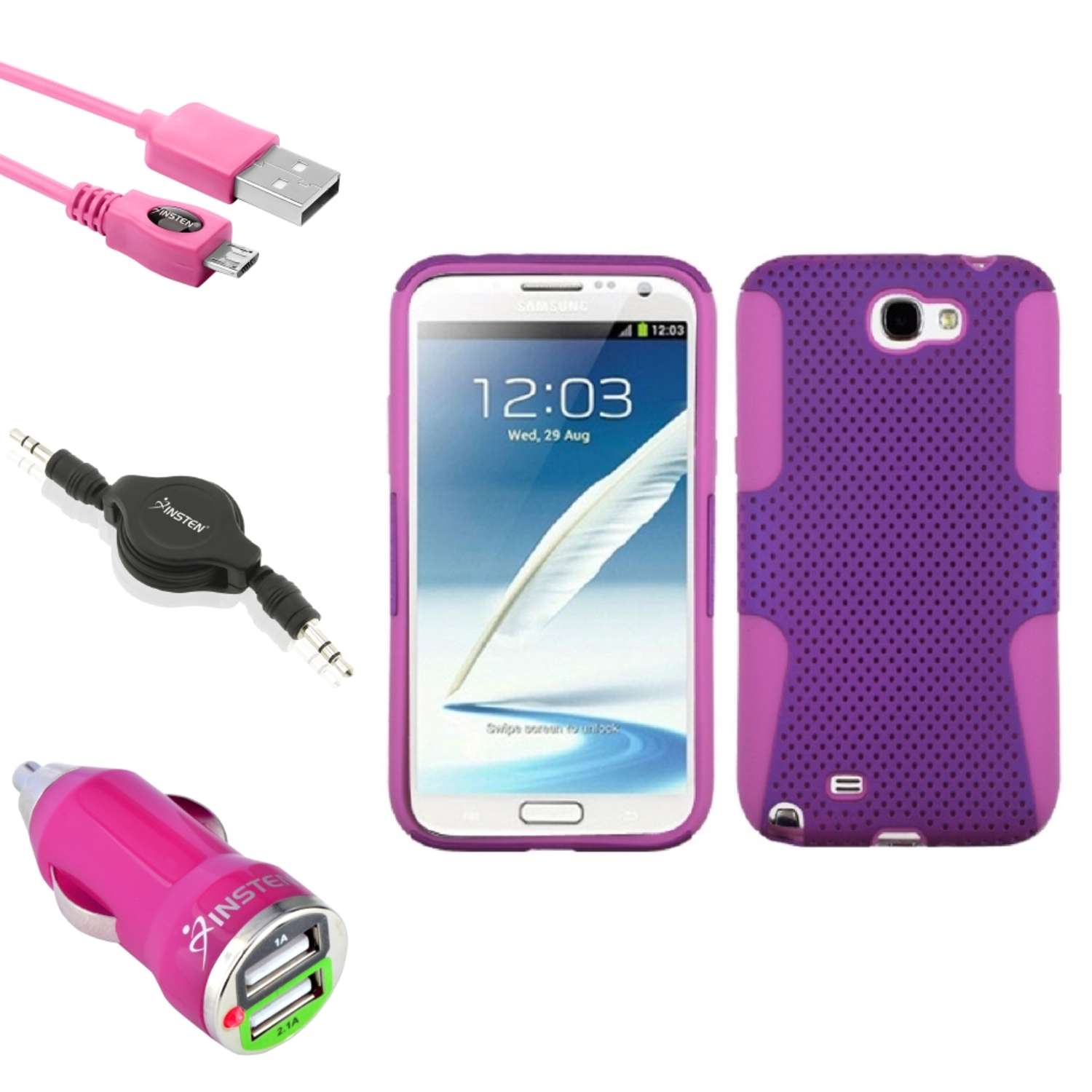 Insten Pink/Purple Hybrid Case 6FT USB Charger Audio Cord For Samsung Galaxy Note 2