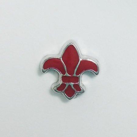 De Buman Enamel (1 PC - Red Fleur De Lis Enamel Silver Charm for Floating Locket Jewelry)