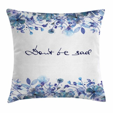Watercolor Throw Pillow Cushion Cover, Blue Flowers and Branches with Leaves Natural Imagery Fine Art Theme, Decorative Square Accent Pillow Case, 18 X 18 Inches, Royal Blue Pale Blue, by Ambesonne Fine Art Cotton Natural