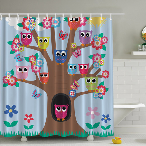Attirant Ambesonne Owl Friends Tree Print Shower Curtain