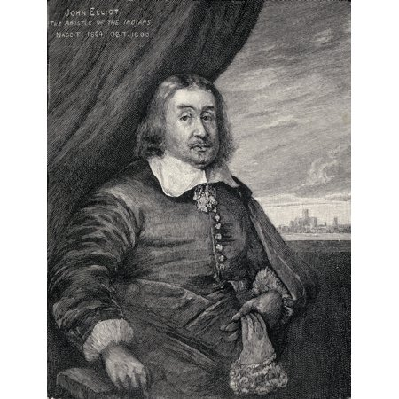 - John Eliot C1604  1690 Aka Apostle Of The Indians English Puritan Missionary From The Book The Century Illustrated Monthly Magazine May To October 1883 Stretched Canvas - Ken Welsh  Design Pics (12 x