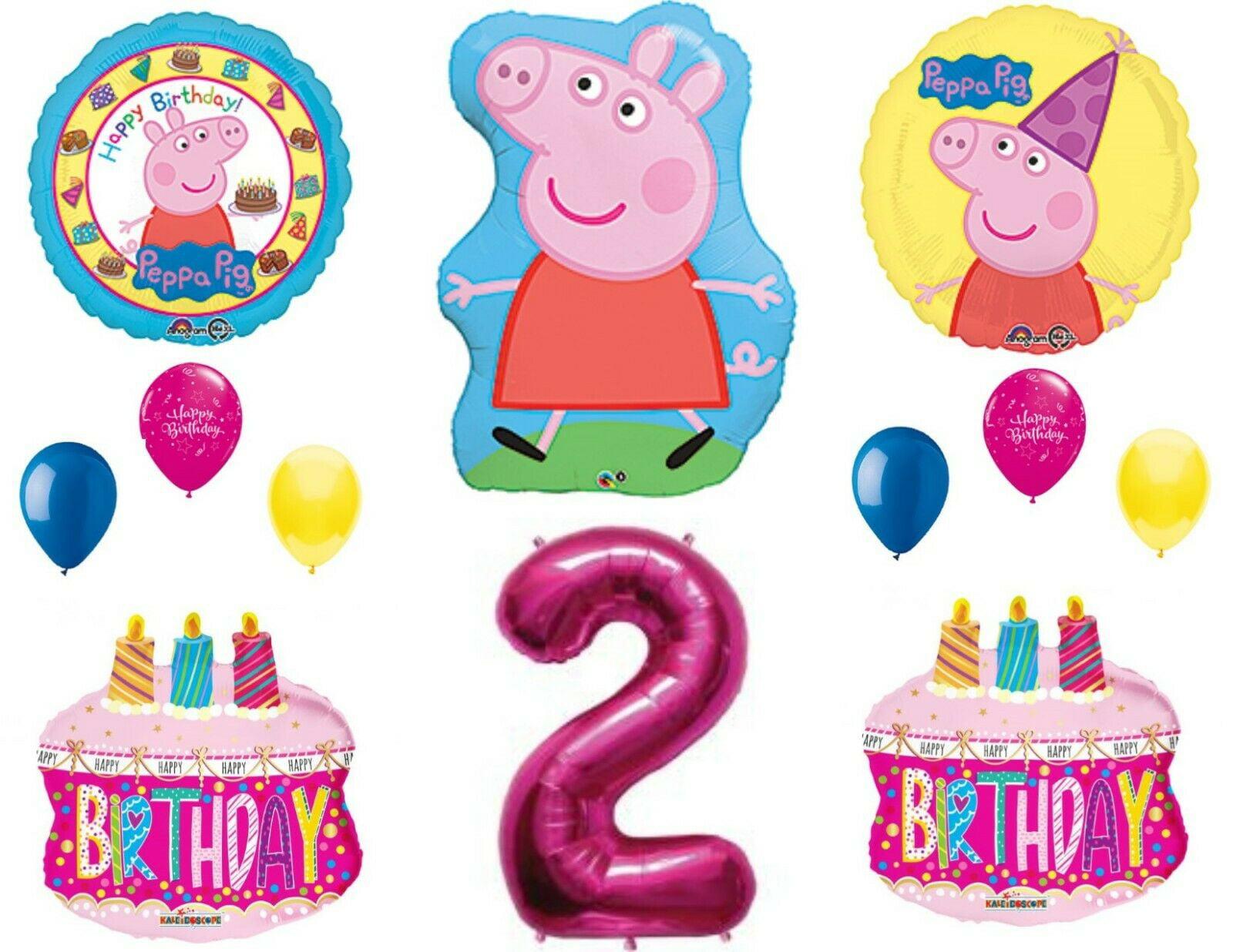Peppa Pig Balloons 2nd Happy Birthday Party Decorations Supplies Walmart Com Walmart Com