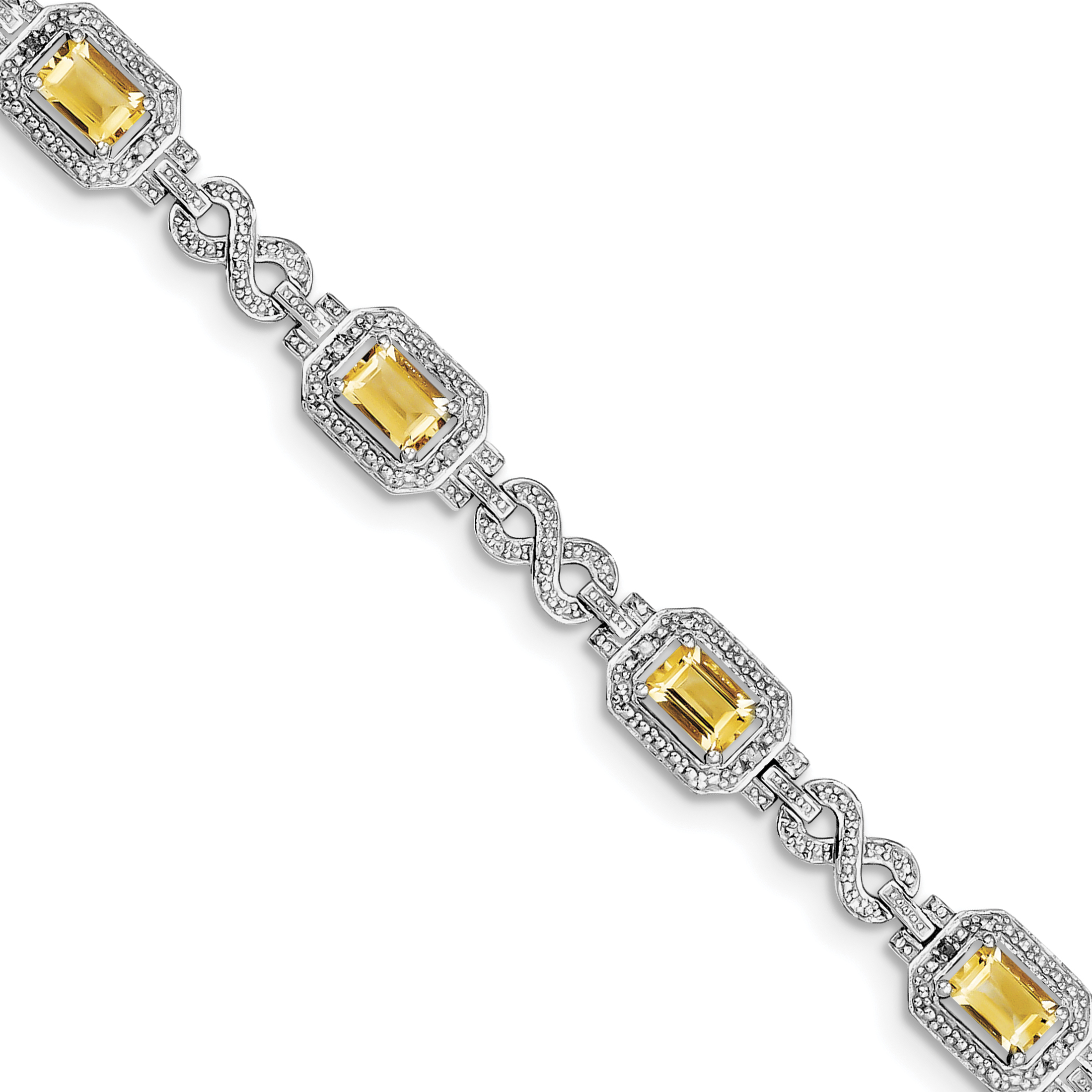 925 Sterling Silver Rhodium-plated Diamond & Citrine Bracelet by