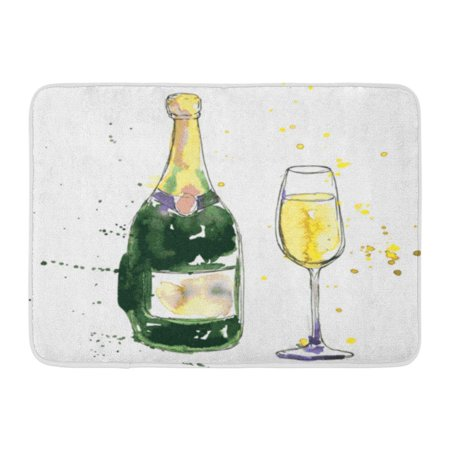 GODPOK Hand Colorful Sketch Champagne Bottle and Glass Drawing by Watercolor and Ink Green Drawn Wineglass Rug Doormat Bath Mat 23.6x15.7 (Bath Fixture Champagne Seeded Glass)