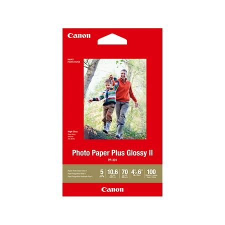 Canon 4x6'' Photo Paper Plus Glossy II 1432C006 (2 Pack, 200 Sheets) 4x6 Glossy Photo Paper