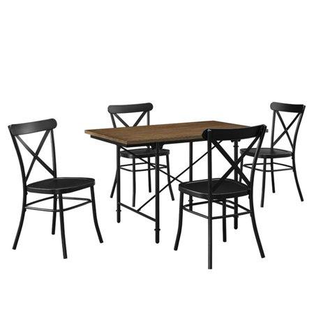 Pulaski 5 Piece Industrial Wood And Metal Dining Set In Multi