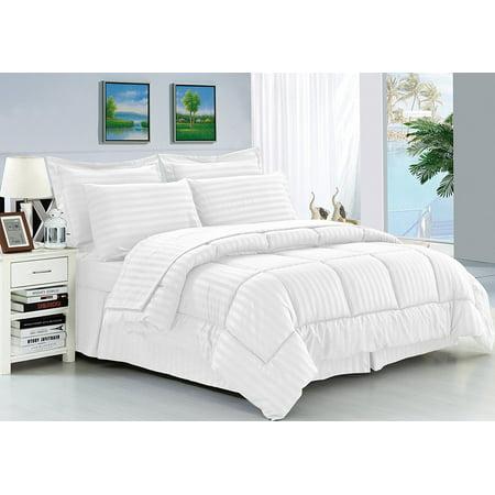 Elegant Comfort  Wrinkle Resistant - Silky Soft Dobby Stripe Bed-in-a-Bag 8-Piece Comforter Set --HypoAllergenic - Full/Queen, White ()