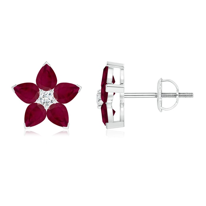Angara 4mm Platinum Ruby Stud Earrings