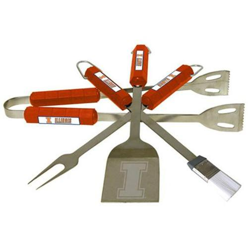 Bsi Products 61041 4 Pc Bbq Set - Illinois Fighting Illini