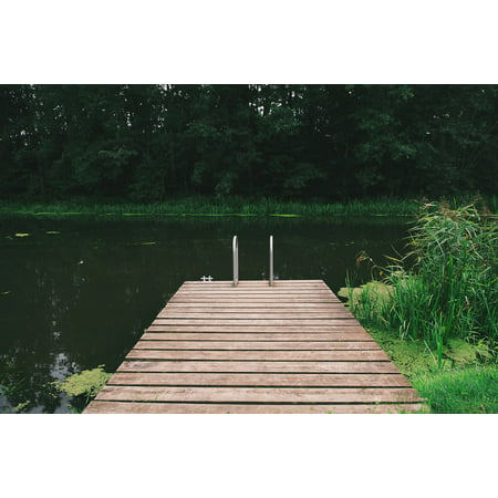 Canvas Print Green Nature Dock Pond Wooden Pier Peaceful Wild Stretched Canvas 10 x 14 (Peaceful Pond)