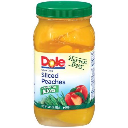 Dole Sliced Yellow Cling Peaches In Light Syrup, 24.5 oz