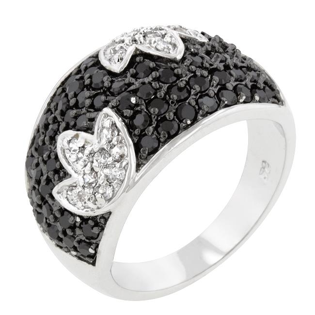 Kate Bissett R08113T-C03-05 Genuine Rhodium Plated Cocktail Ring with Round Cut Clear CZ and Round Cut Black Onyx in a