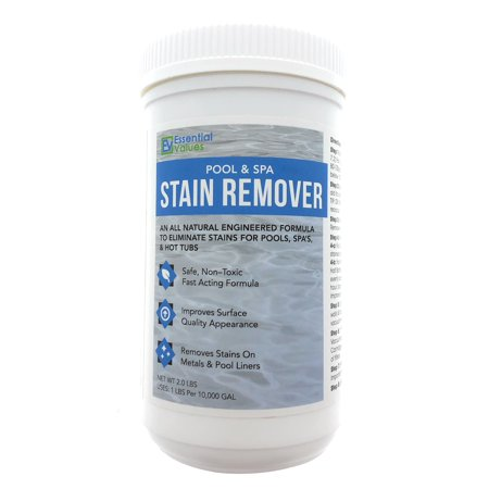 Essential Values Swimming Pool & Spa Stain Remover (2 LBS) - Natural & Safe, Works Best for Vinyl Liners, Fiberglass, Metals – Removes Rust & Other Tough Stains Without The Use of Harsh (Vinyl Pool Stains)