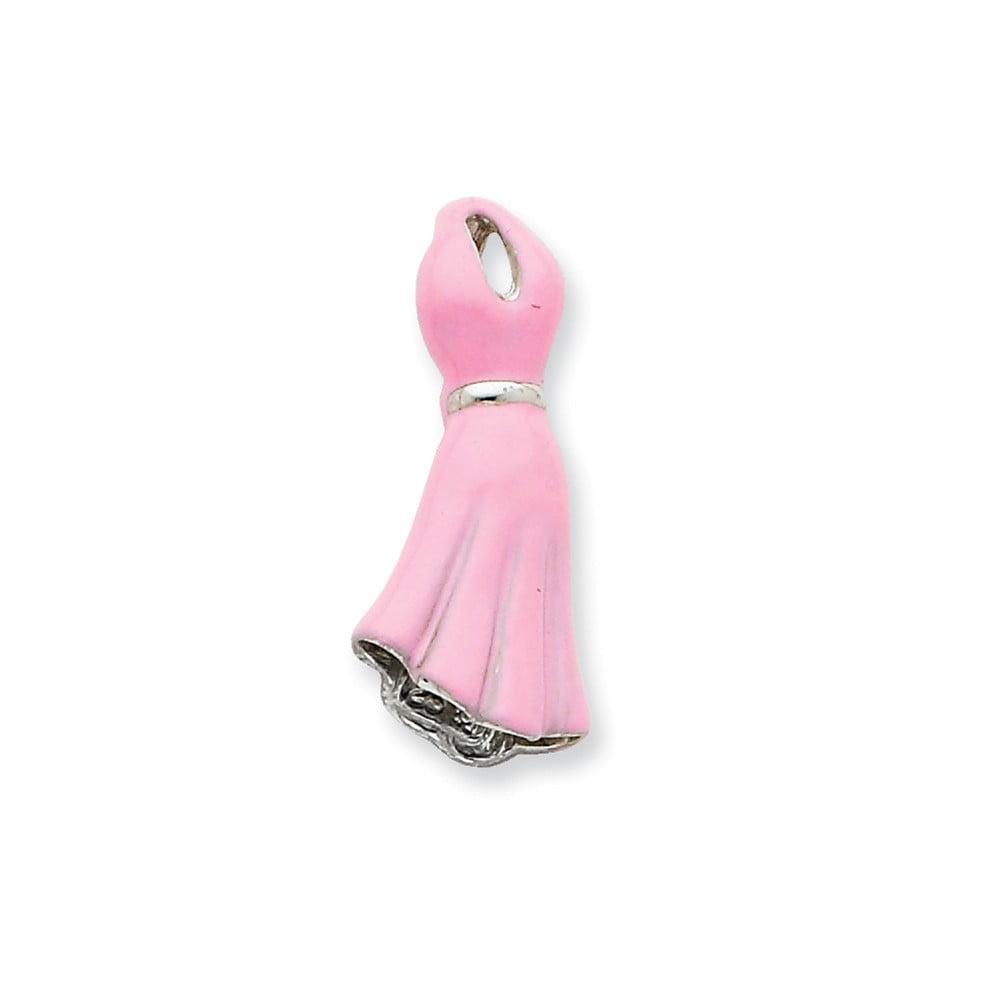 Sterling Silver Pink Enamel Dress Slide