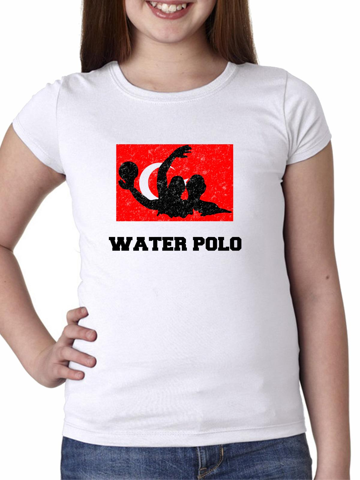 Turkey Olympic Water Polo Flag Silhouette Girl's Cotton Youth T-Shirt by Hollywood Thread