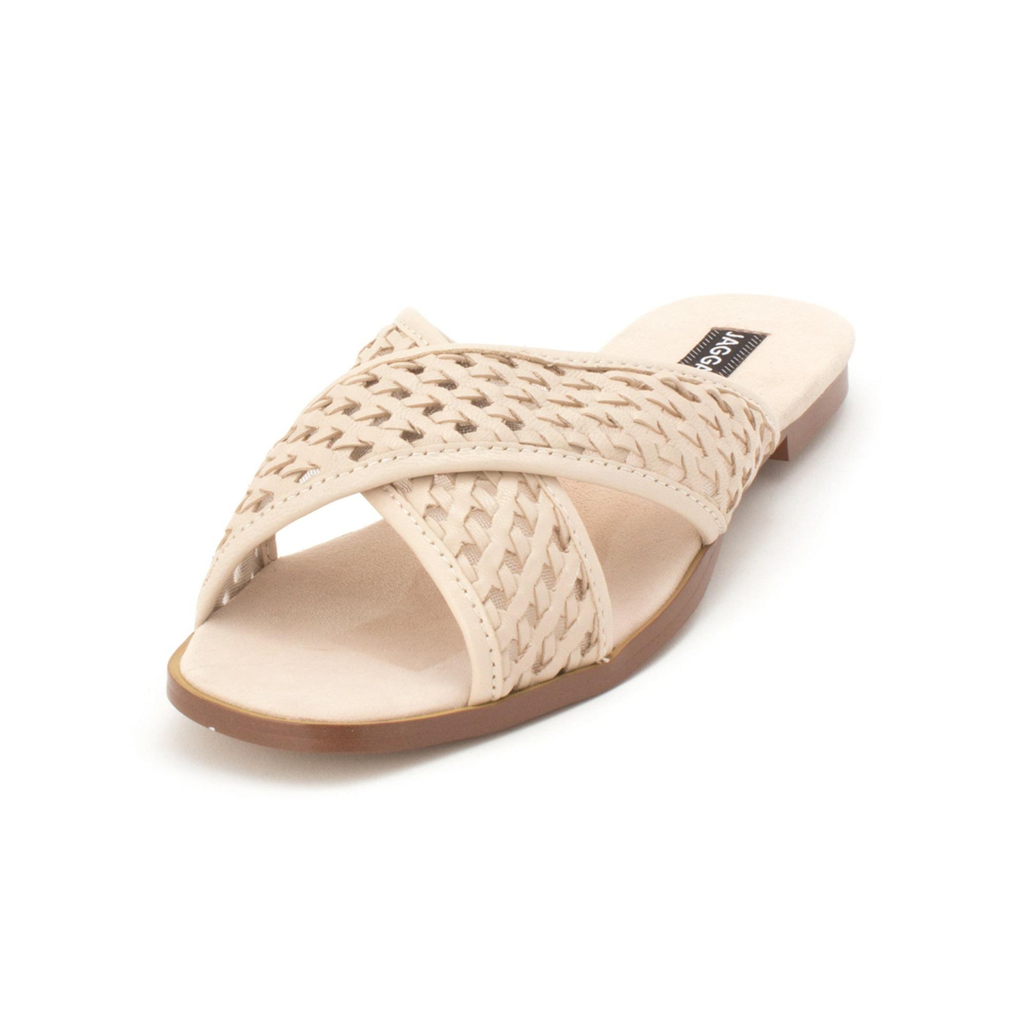 43c640581 JAGGAR Womens Crossrd Flat Leather Open Toe Casual Slide Sandals ...