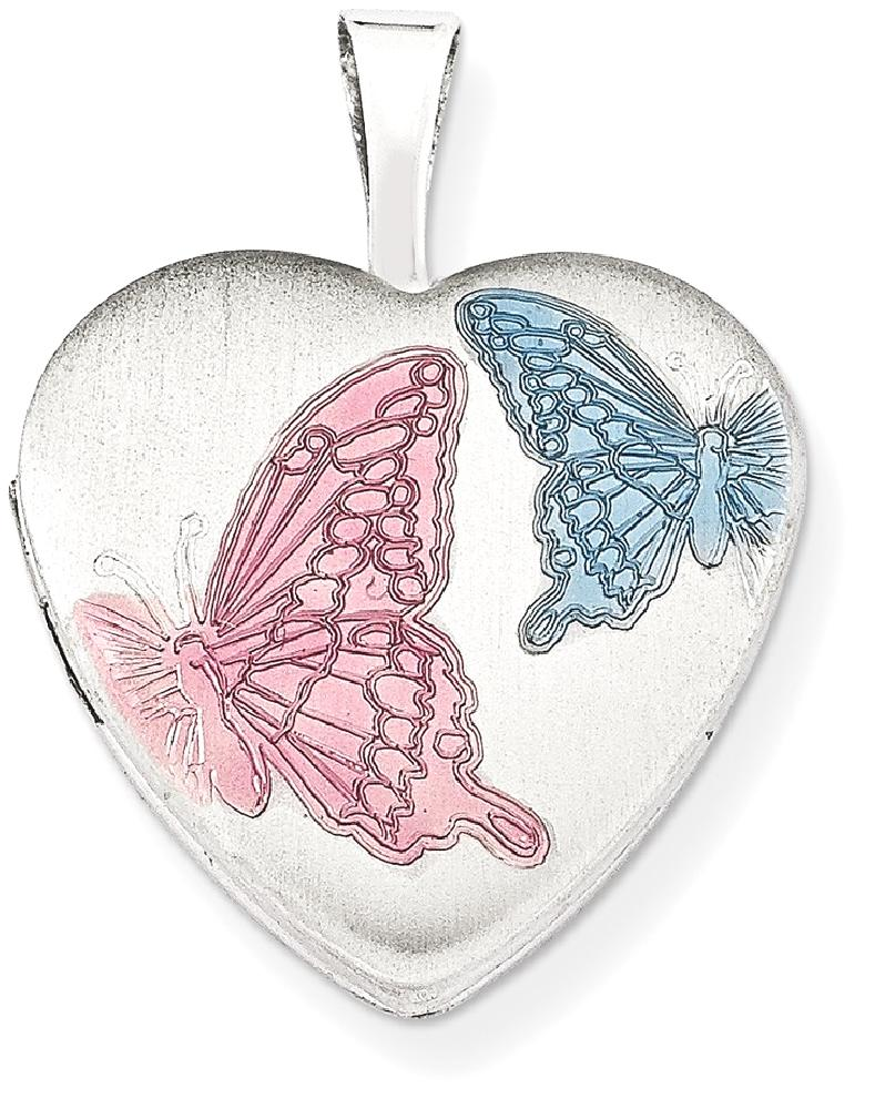ICE CARATS 925 Sterling Silver 16mm Enameled Butterfly Heart Photo Pendant Charm Locket Chain Necklace That Holds... by IceCarats Designer Jewelry Gift USA
