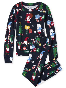 The Childrens Place Long Sleeve All Around Christmas Gnomes Print Pajama Pant Set (Little Boys and Big Boys)