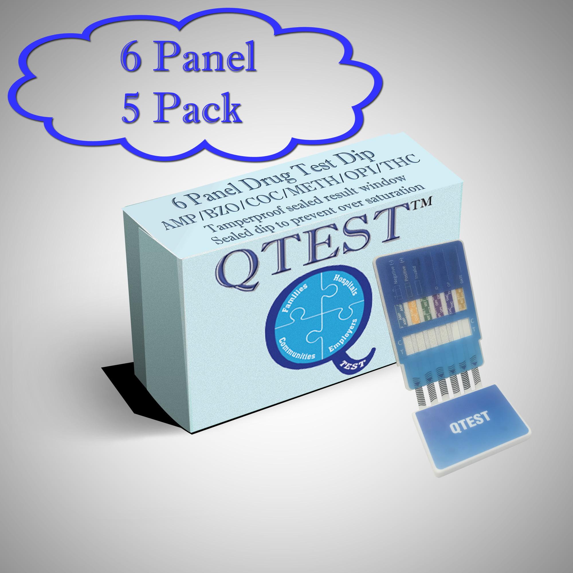 (5 Pack) QTEST 6 Panel Urine Drug Test Dip Tamper Proof - Amp (Amphetamine), Bzo (Benzodiazepine), Coc (Cocaine), Mamp (Methamphetamine, Opi (Opiates), Thc (Marijuana)